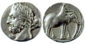 Moeda com a imagem de Amilcar Barca, general cartaginês