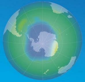 Ilustração do buraco da camada de ozônio sobre o polo Sul
