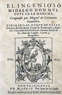 Capa da primeira edição de Dom Quixote de La Mancha, obra de Miguel de Cervantes