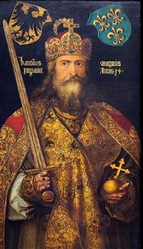 Pintura de Carlos Magno segurando uma espada e uma cruz
