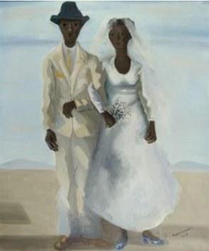 Pintura de um casal com roupas de casamento