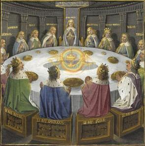Pintura medieval representando os cavaleiros da Távola redonda