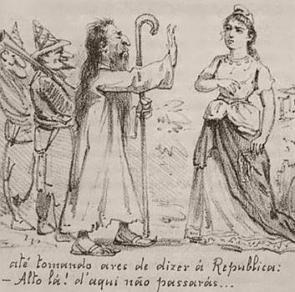 Charge mostrando Antônio Conselheiro barrando a República