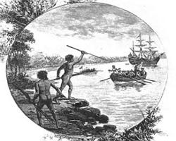 Imagem mostrando a chegada dos europeus na Austrália: início da colonização da Oceania