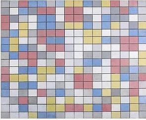 Composição em tabuleiro de damas com cores claras de Piet Mondrian