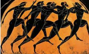 Vaso grego pintado com gregos disputando uma corrida