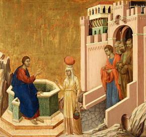 Cristo e a mulher samaritana, obra de Duccio di Buoninsegna