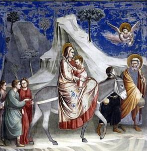 A Fuga para o Egito, pintura gótica de Giotto
