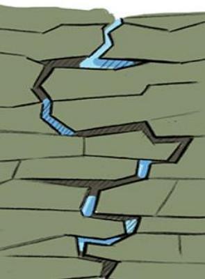 Desenho mostrando a água se infiltrando no subsolo