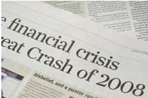 Jornal trazendo como manchete a crise econômica de 2008