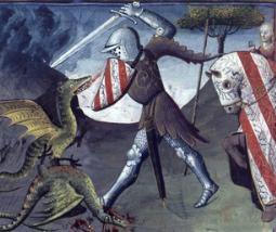 Pintura medieval mostrando Lancelot lutando contra dois dragões