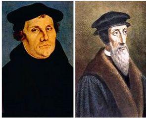 Retratos de Martinho Lutero e João Calvino