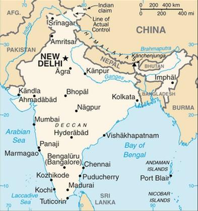 mapa da india Mapa da Índia   características e limites geográficos mapa da india
