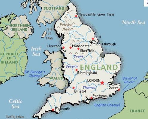 mapa da inglaterra Mapa da Inglaterra   características e limites geográficos mapa da inglaterra