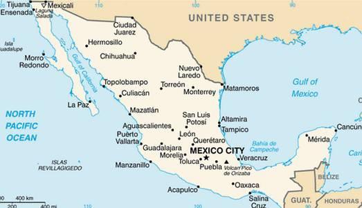 mapa do mexico Mapa do México   características e limites geográficos mapa do mexico