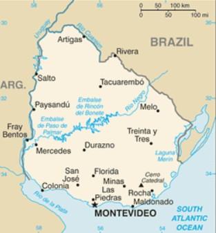 Mapa do uruguai caracter sticas e limites geogr ficos for Mueblerias por calle rivera montevideo