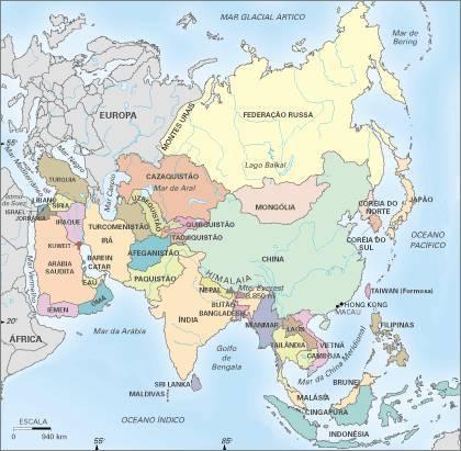 mapa da asia paises Mapa da Ásia mapa da asia paises