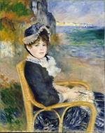 Mulher sentada à beira mar, obra de Renoir