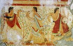 Pintura etrusca mostrando dançarino e músicos