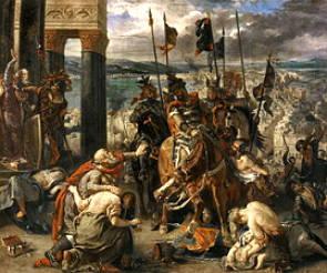 Pintura A tomada de Constantinopla pelos Cruzados de Delacroix